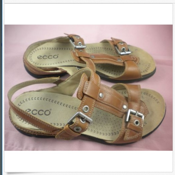 f4180cc637 ECCO Slingback T Strap Brown Leather Sandals 37 6